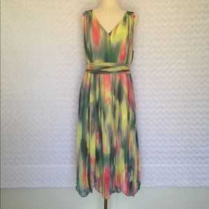 Flowing Sheer Fully Lined Dress Sz L